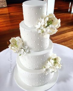 Classic White French Dot Wedding Cake