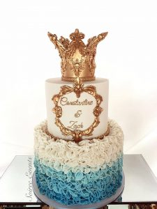 Gold and Blue Christening Cake