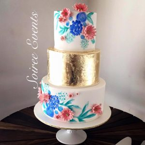 Hand Painted Blue Flower Cake