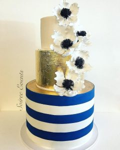 Striped and Golf Leaf Cake