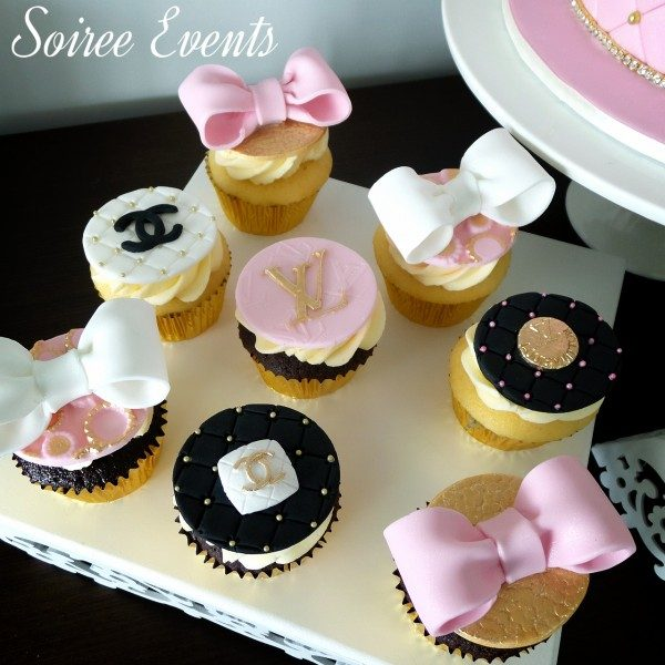 Pink and Black Designer Cupcakes