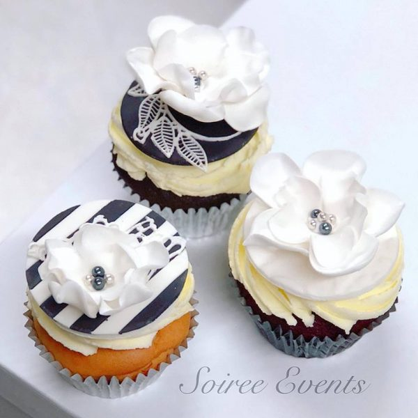 black and white stripe and lace cupcakes