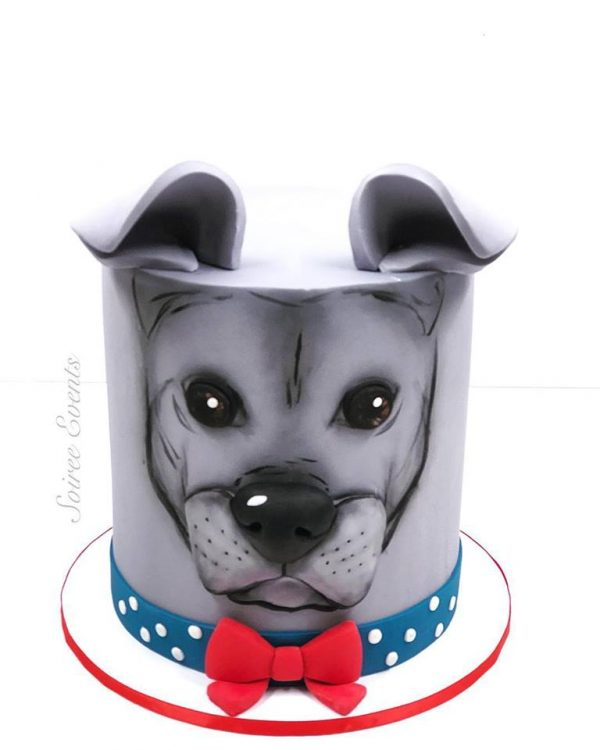 hand painted dog cake