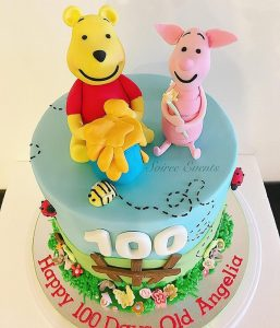 100 days old pooh and piglet cake