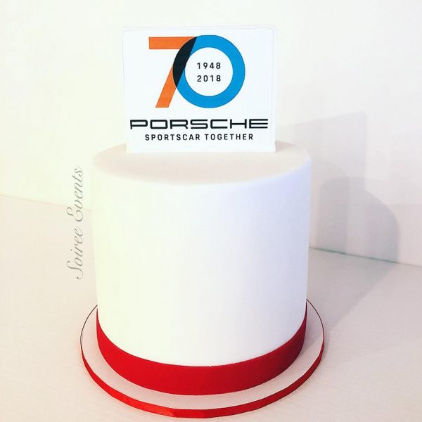 Branded corporate cake with edible image cake topper