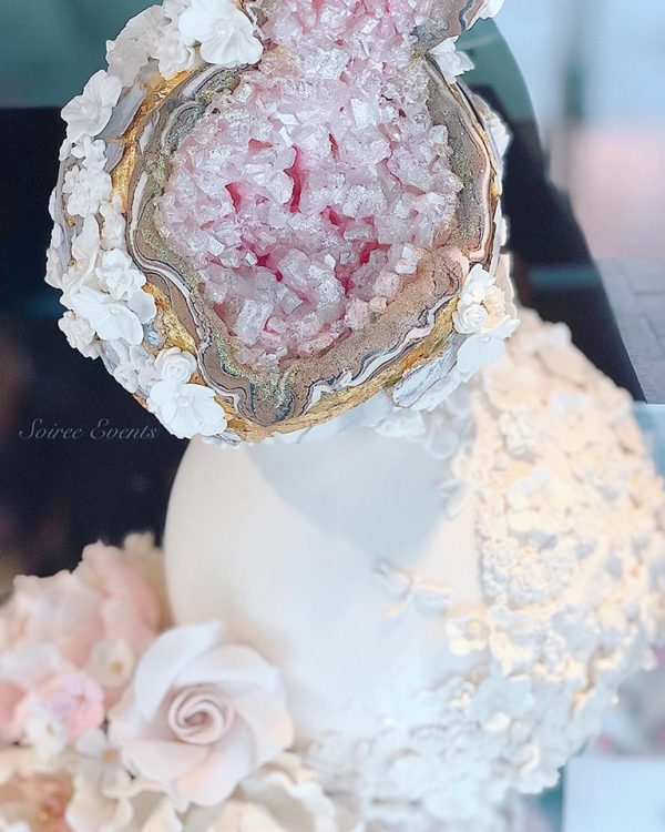 Geode-crystal-and-textured-marble-stone-sphere-stack-cake-and-sugar-flowers