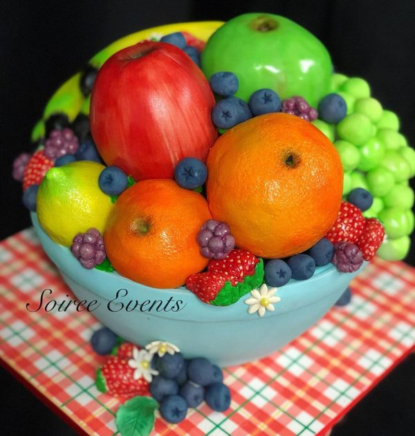 hand sculpted and hand painted 3D fruit bowl cake