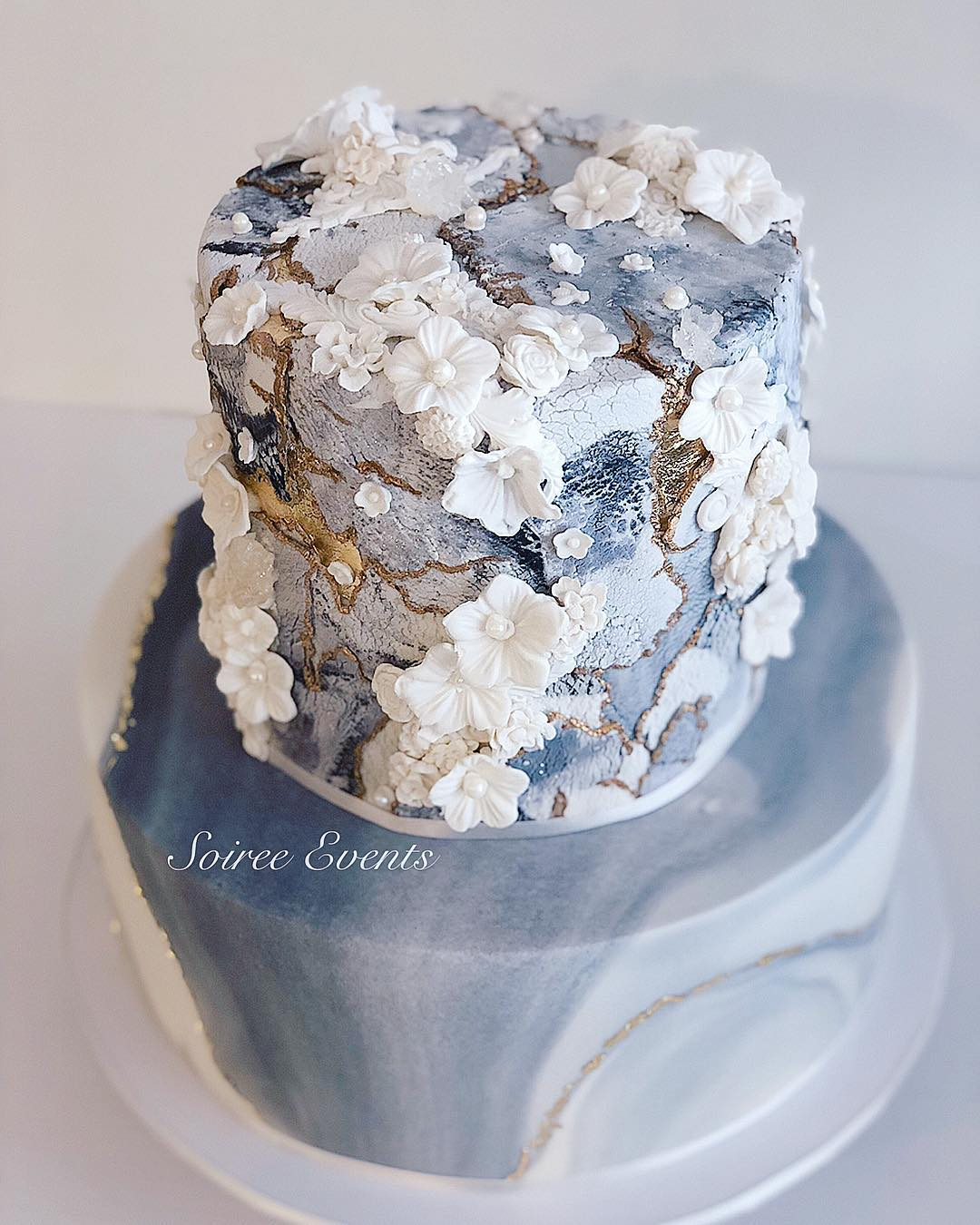 textured marble stone bas relief cake