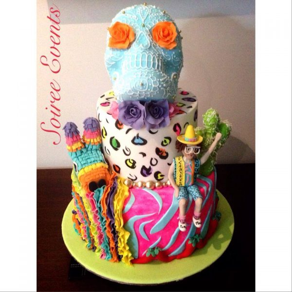 red foos sugar skull birthday cake