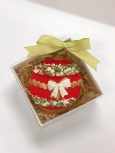 Red christmas bauble gingerbread cookie