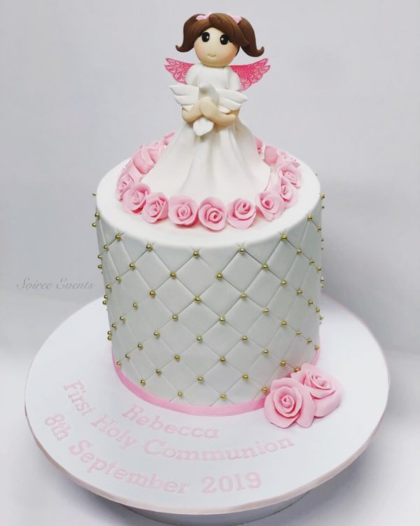 quilted angel christening holy communion cake