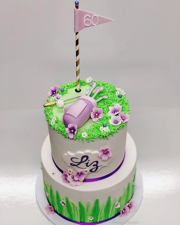 purple golf cake