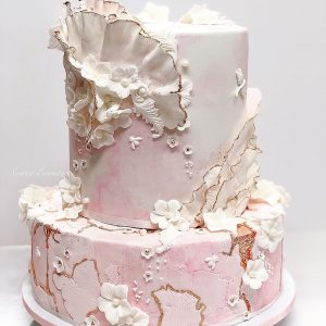pink and rose gold marble stone cake