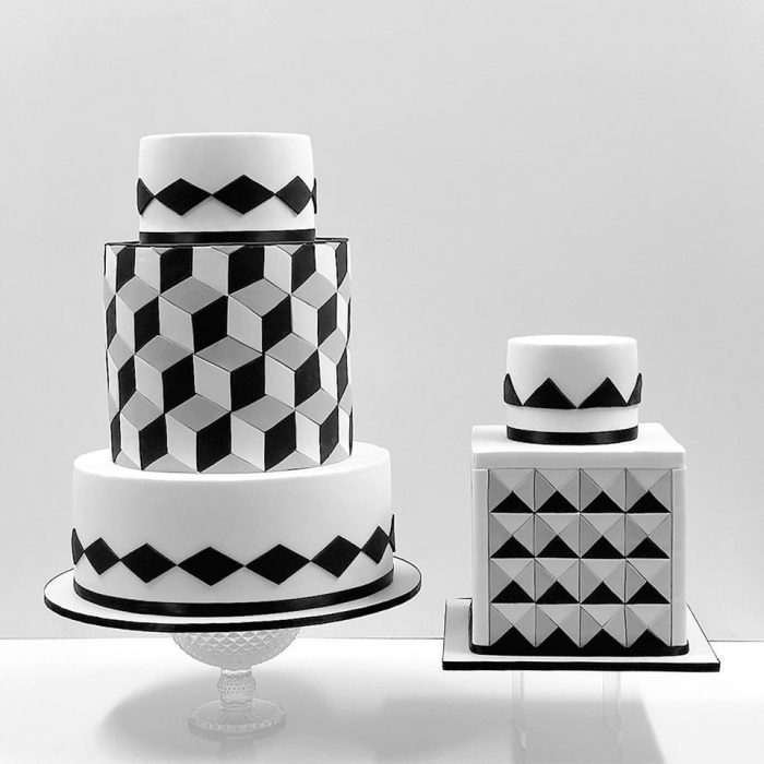 black and white geometric cakes