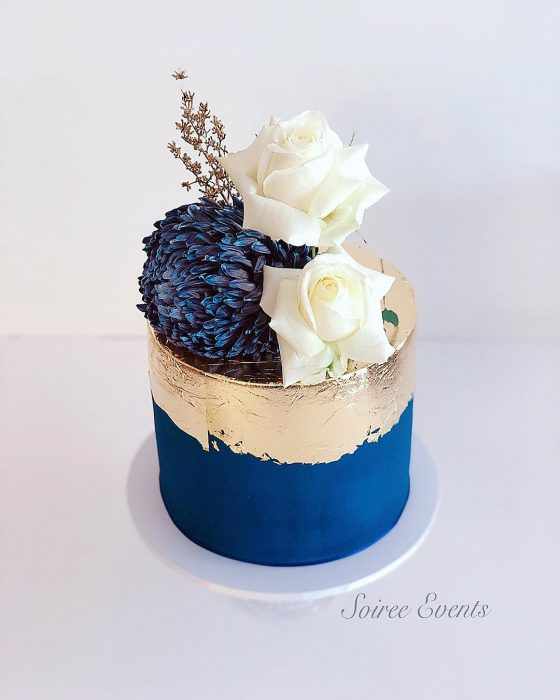 Navy and Gold Leaf Cake